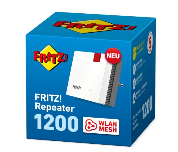 AVM FRITZ! Repeater 1200 - Wi-Fi-Range-Extender - GigE - Wi-Fi - Dualband