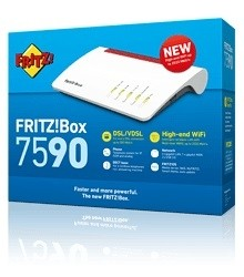 AVM FRITZ!Box 7590 - Wireless Router - DSL-Modem - 4-Port-Switch - GigE - 802.11a/b/g/n/ac - Dual-Ba
