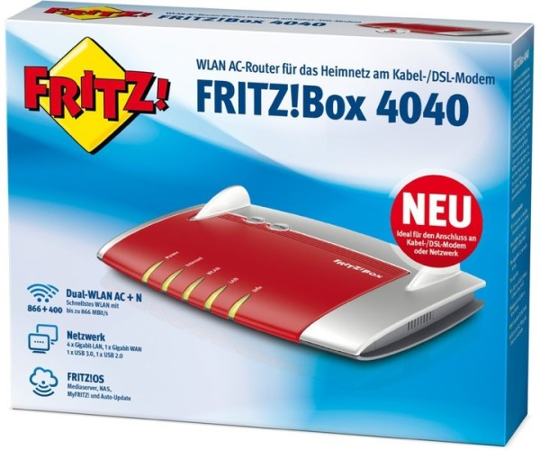 AVM Fritz!Box 4040 WLAN AC USB 3.0 ohne Modem